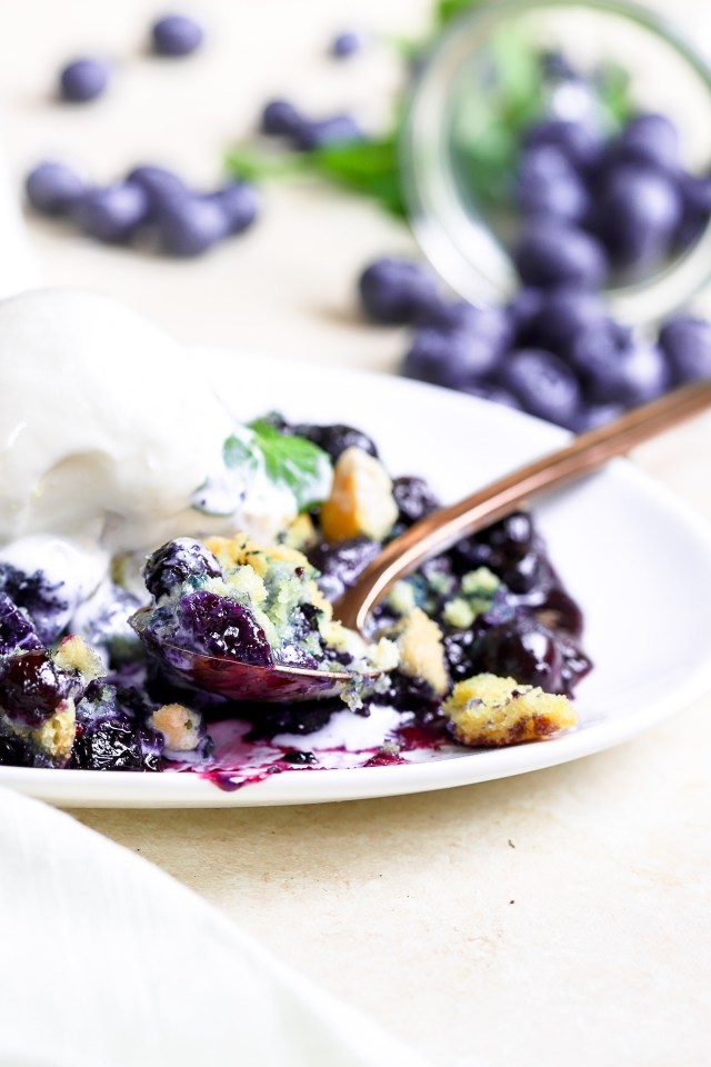 Blueberry Mint Cornbread Cobbler