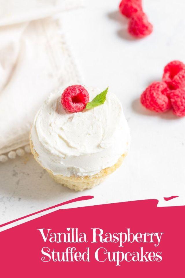 Vanilla Raspberry Stuffed Cupcakes