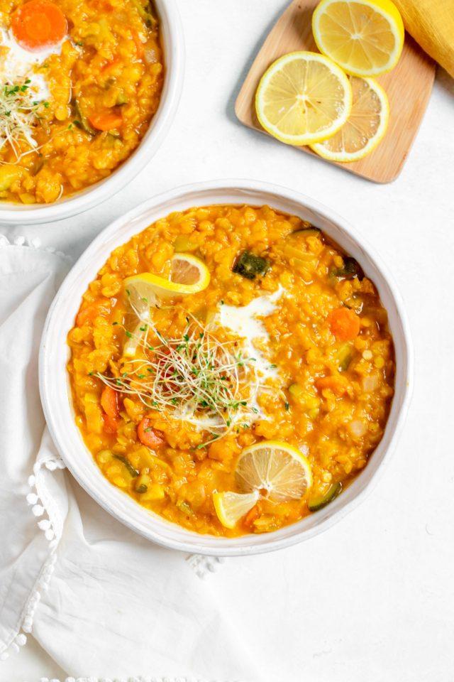 Vegan Red Lentil Leak Soup