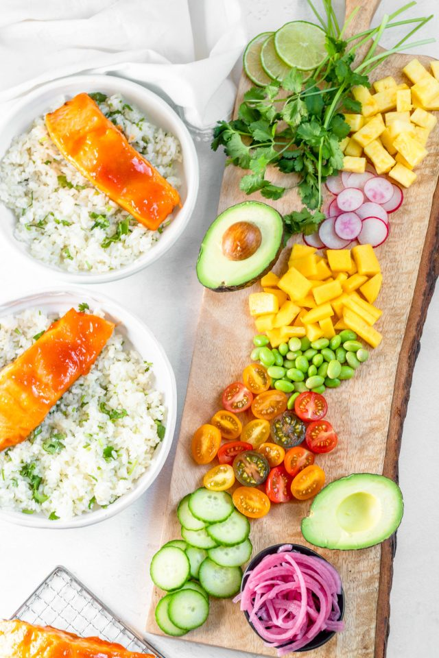 Honey Sriracha Salmon Rainbow Rice Bowls