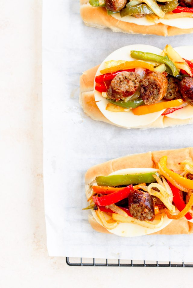 Air Fryer Sausage, Peppers and Onions Sandwiches