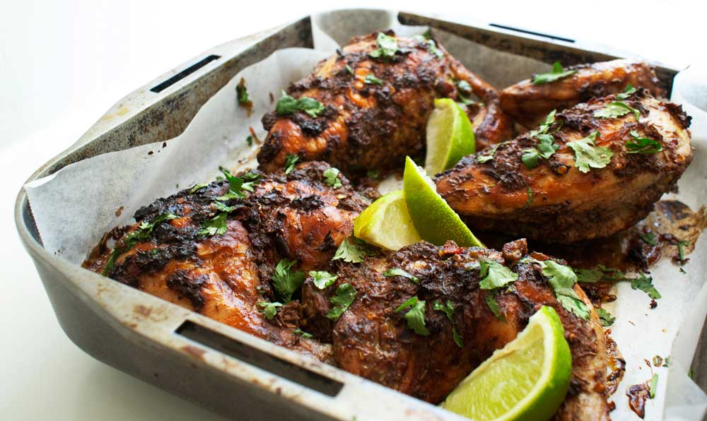 Jamaican Chicken. A spicy and aromatic chicken dish, that is simple to prepare and cooks easily in the oven.