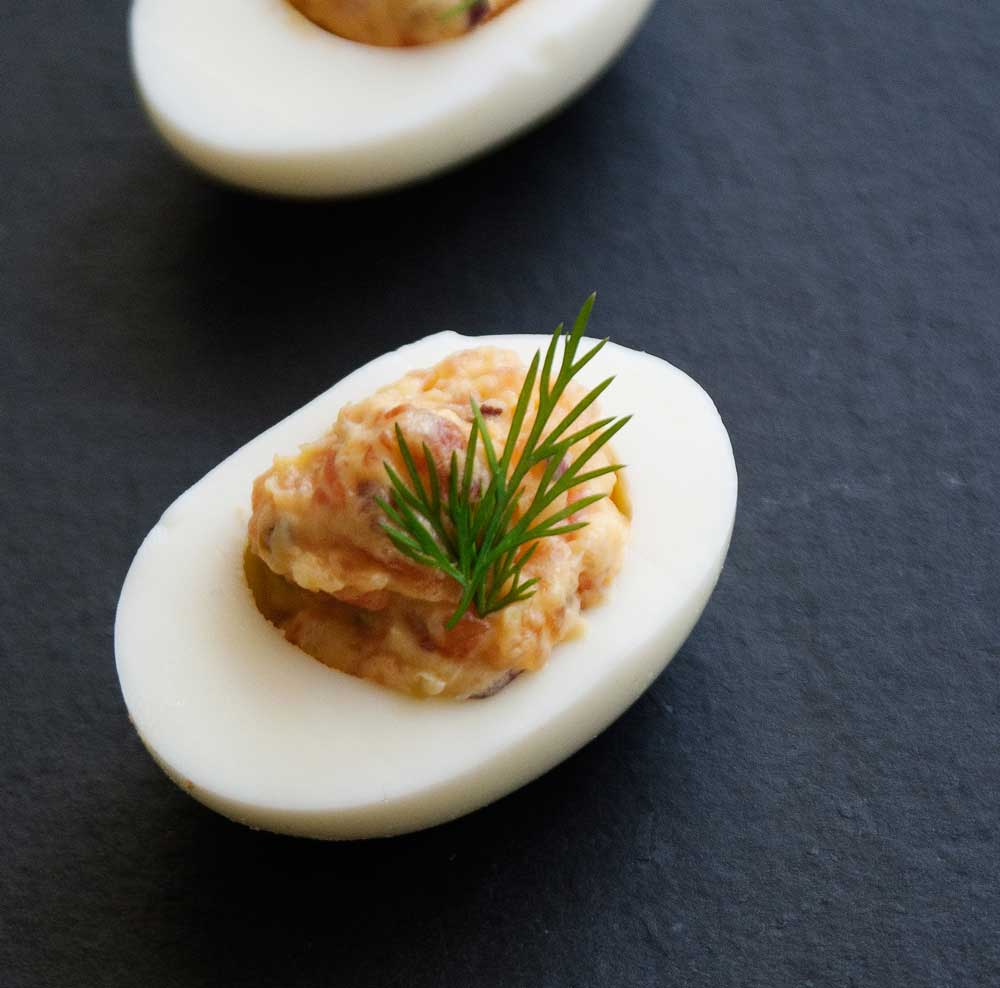 Smoked Salmon Devilled Eggs | Sprinkles and Sprouts