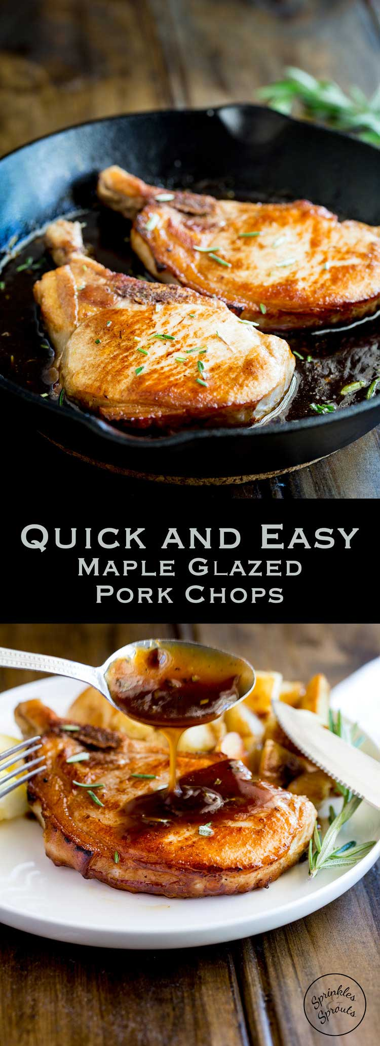 Juicy and tender pork in a mouthwateringly delicious sweet and salty glaze. Posh enough for guests this easy pork chop recipe is on the table in under 15 minutes! From https://www.sprinklesandsprouts.com.au #Sundaysupper