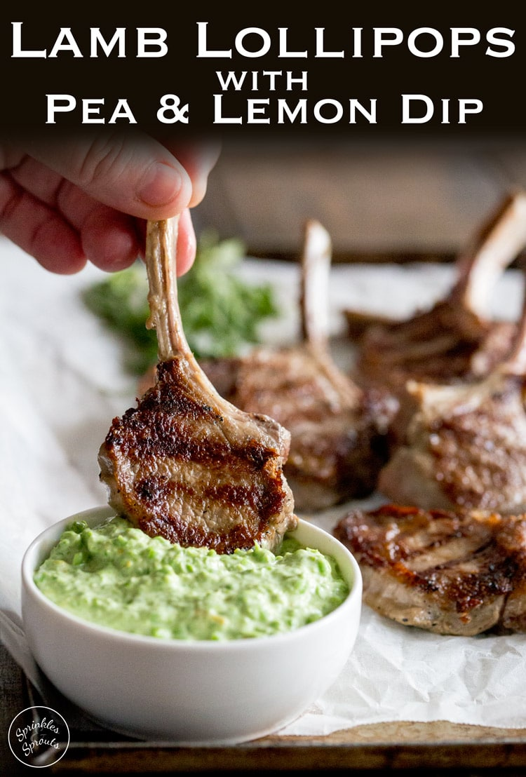 These Grilled Lamb Lollipops makes a great dish to feed the whole family. Deliciously juicy lamb chops, seared to perfection served with a sweet spring pea and lemon dip. Another #SundaySupper from https://www.sprinklesandsprouts.com.au #sundaysupper