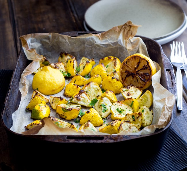 Flash roasted summer squash, drizzled with extra virgin olive oil and generously seasoned with fresh thyme. Finished with the caramelised sweet and sour hit of charred lemons. This is a side dish that packs a punch and is perfect for just about any occasion!