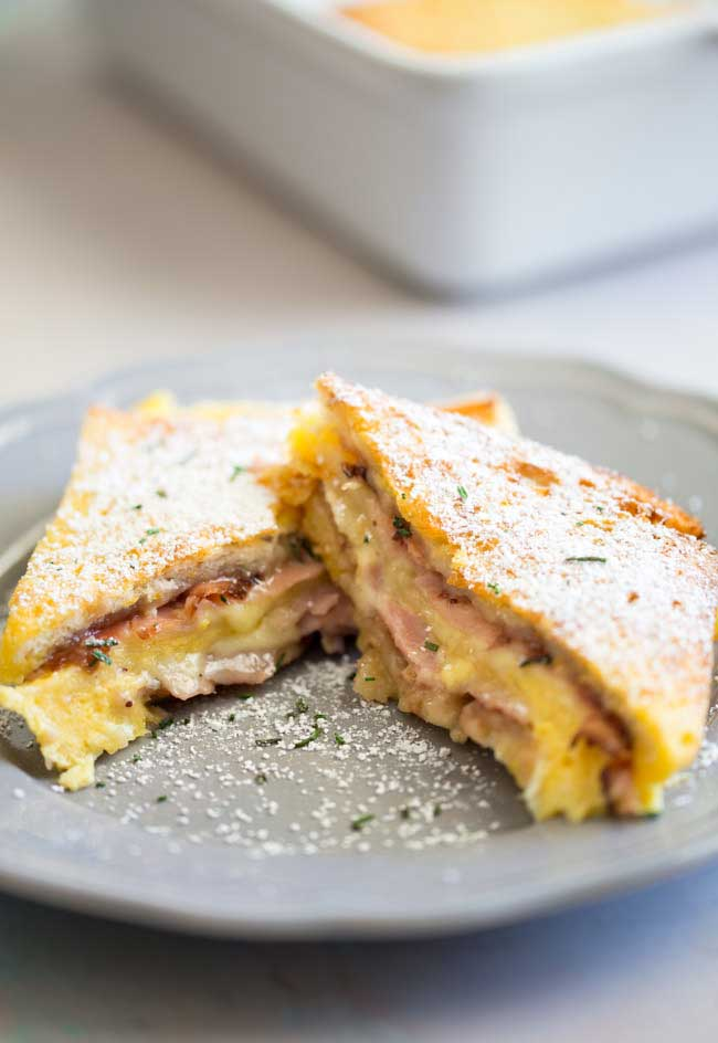 This make Ahead Baked Monte Cristo Casserole is the perfect dish for brunch. You make it the night before and just pop it in the oven in the morning. No stress when you have guests staying over!!