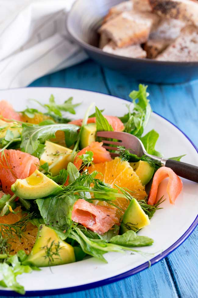 Smoked Salmon, Orange & Avocado Salad
