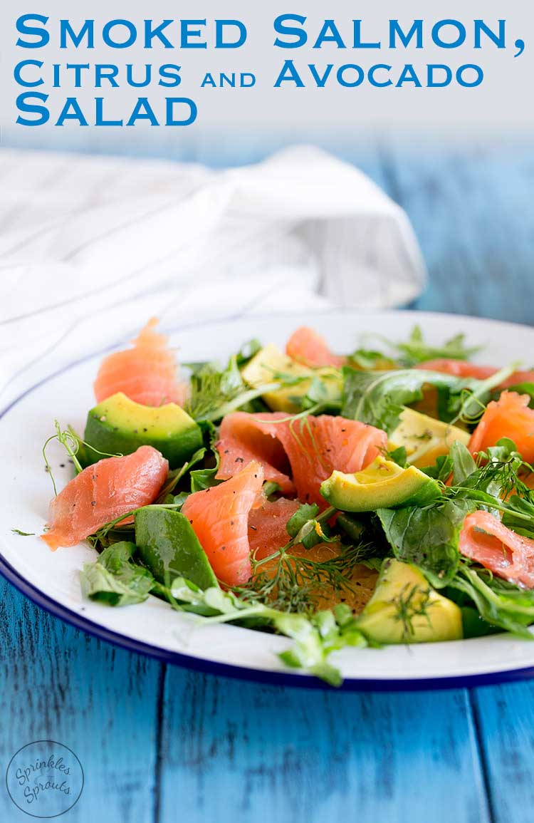 Smoked Salmon, Sweet orange, peppery leaves, fresh herbs and creamy avocado. This smoked salmon, orange and avocado salad is packed with flavours and textures. So delicious and so beautiful it is sure to become a firm favourite. A fresh salad that is perfect for Spring or Summer. Serve it when entertaining or pack it up in your lunchbox. #summersalad #SundaySupper