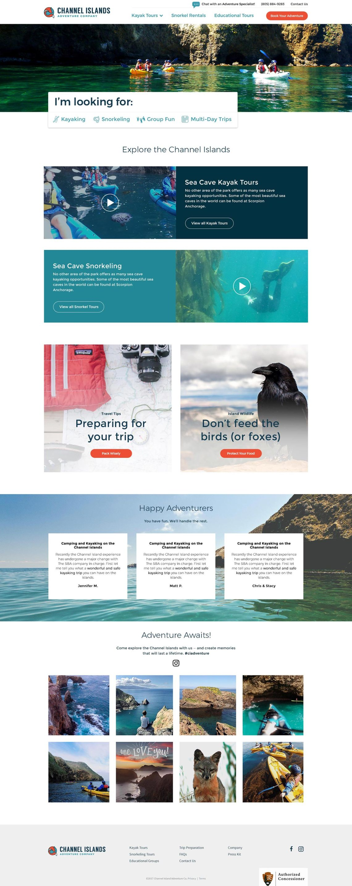 Channel Island Adventure Co website design