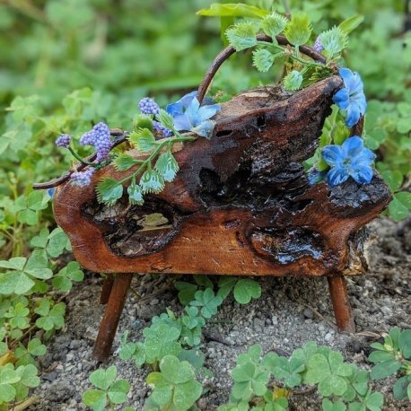 Floral Blue Fairy Bench with live edge handmade by Sprouted Dreams5