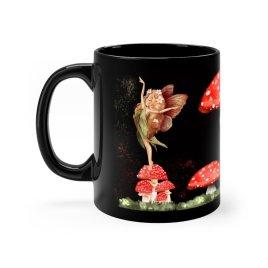 Dancing Toadstool Fairy Coffee Mug | Black Coffee Cup with Fairy and Toadstool Mushrooms