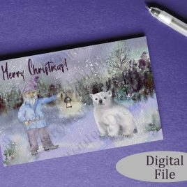 Gnome and Bear Merry Christmas Card