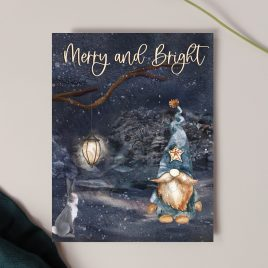 Merry and Bright Gnome and Bunny Christmas Card