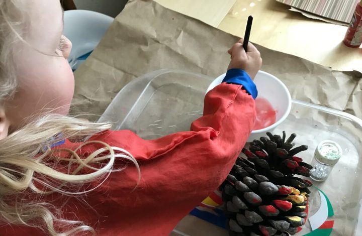 Painting Pinecones – A Simple Fall Art Activity