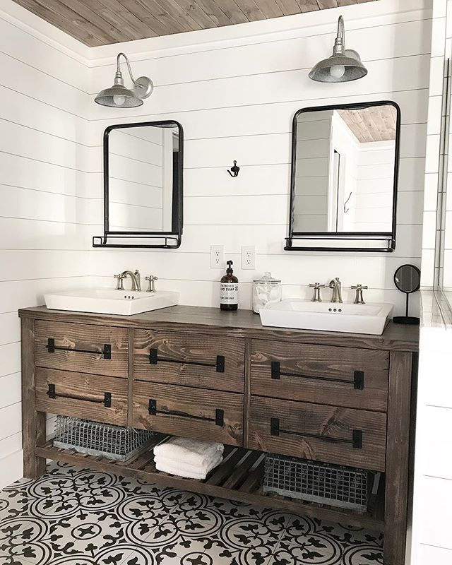 Rustic Farmhouse Double Vanity - Spruc*d Market on Rustic Farmhouse Bathroom  id=27546