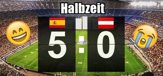 Halbzeitpausenstand: Spanien: 5, Österreich: 0