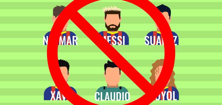 Durchgestrichene FC Barcelona Spieler