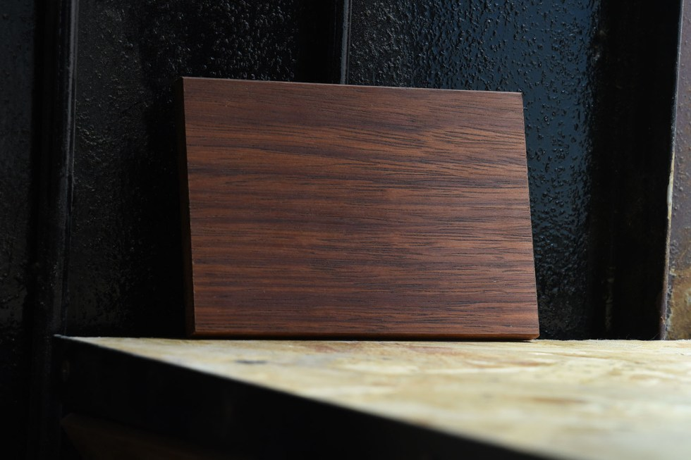 Swatch of Merbau wood used for custom furniture