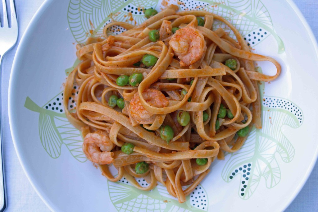 fettucine and shrimp in pink sauce