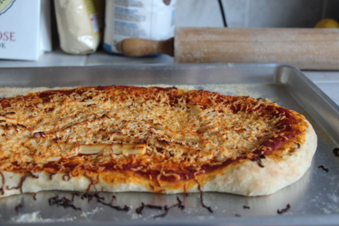 "Pizza with scorched ""cheese."""
