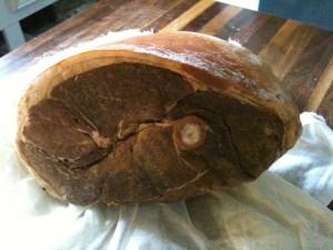 Ham after brining in cider