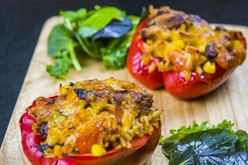 Stuffed Peppers with Rice and BBQ Mackerel
