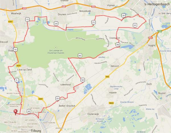 Parkours 62 km Verbeeten Challenge 2015