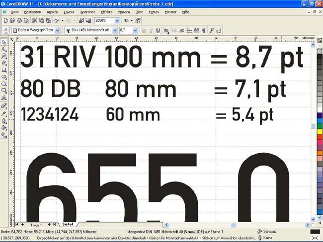 Tabelle mit ermittelten Schriftgrößen