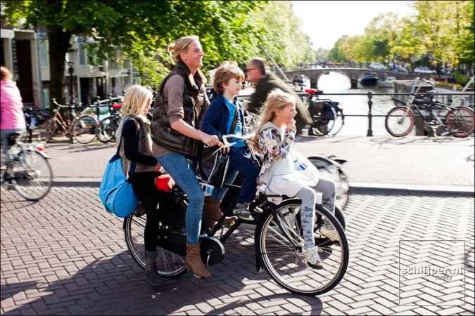 A family on a bike in Amsterdam