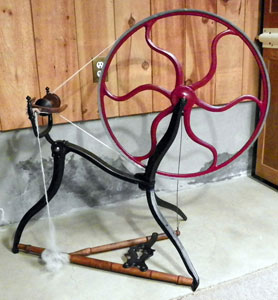 Sue's restored cast-iron spinning wheel