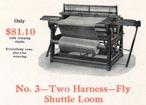 Newcomb No. 3 Loom - Two harness with fly shuttle, wooden frame, cloth beam in front. (Newcomb Loom Company, 1912)