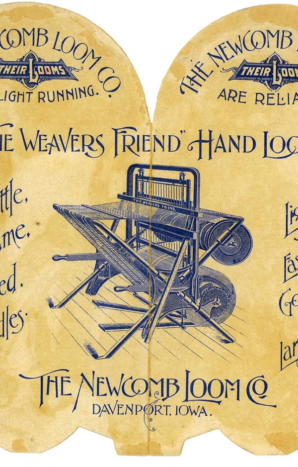 """The Weavers Friend"" Hand Loom. Advertising brochure shows two harness loom with metal frame, cloth beam behind shafts, almost under warp beam. (Newcomb Loom Company, 1912)"