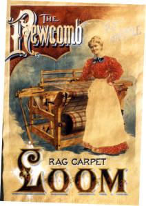 Ad for The Newcomb Rag Carpet Loom. Woman standing in front of wooden loom with fly shuttle, plaid carpet on loom. (Newcomb Loom Company, 1912)