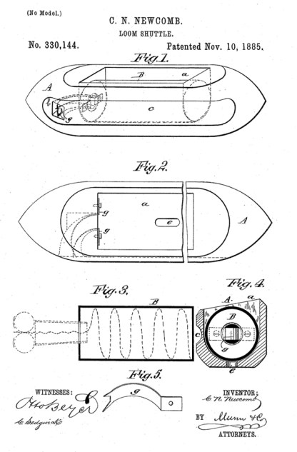 Patent diagram for Charles Newcomb's 1885 patent for his loom shuttle #330,144A.