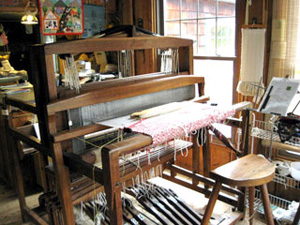 8-shaft loom built for Osma Gallinger, a well-known weaving teacher, by her husband Milo Gallinger, probably in the 1940s.