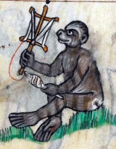 Ape drawn in the margin of Maastricht Hours, a 14th century manuscript, skeining yarn on a niddy-noddy.