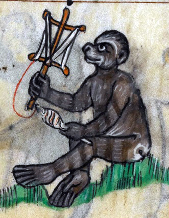 Ape drawn in the margin of Maastricht Hours, a 14th century manuscript, skeining yarn on a niddy-noddy.