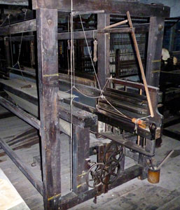 Pilling hand loom on display at Helmshore Textile Museum, Lancashire, England.