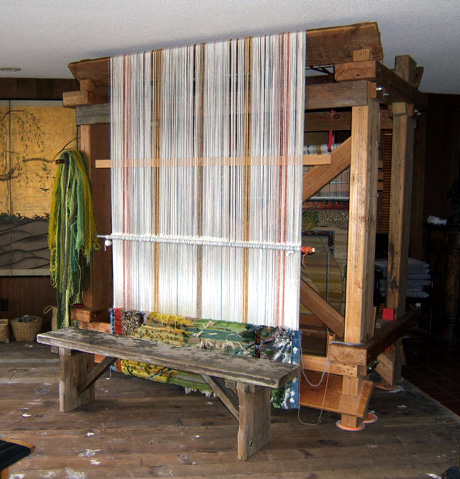 Custom-built loom for knotted-pile weaving. Built by Simon Fraser at the request of Vicki Fraser.