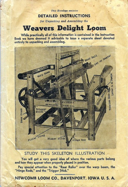 Sample from Loom Manual Library- Instruction booklet for Weavers Delight Loom Newcomb Loom Company.