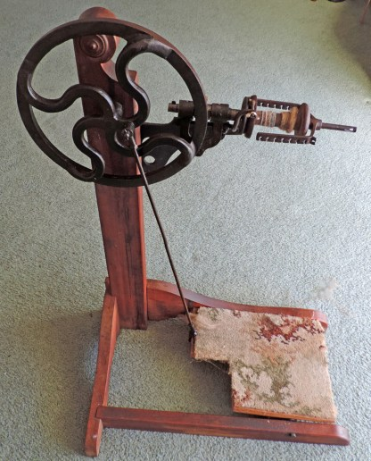 Friction drive spinning wheel made by Gisborne Engineering Company in New Zealand in 1918.