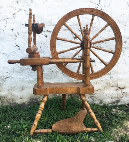 Norwegian-style spinning wheel built by Manville Hagen of Minnesota.