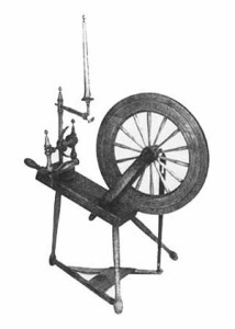 Horizontal bobbin and flyer wheel from the collection of Michael Taylor.