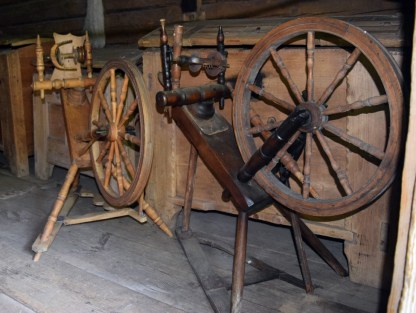 """Two kaldvokk (which means """"sloping spinning wheel"""" in Estonian) in the Open Air Museum in Tallin."""