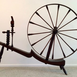 """""""Moon Over Spoon"""" great wheel, with curved table and finely turned tension holder and spindle post."""