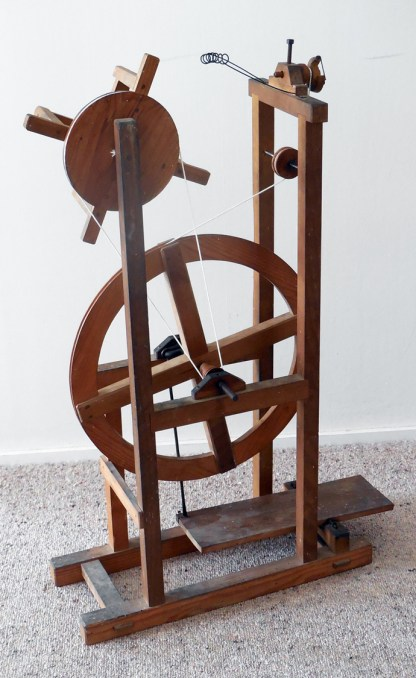 "The ""Asian spinning wheel"" with drive bands fitted."