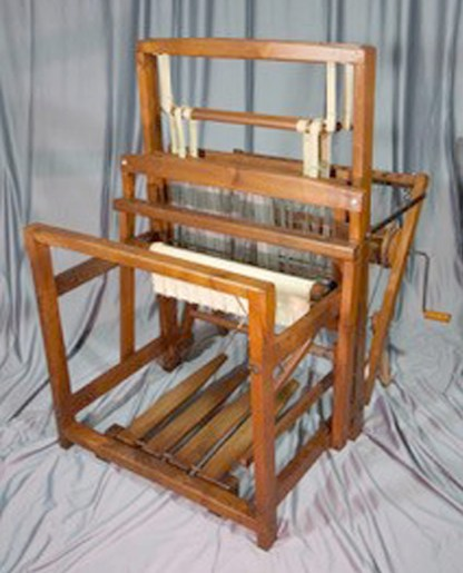 "Gallinger floor loom 24"" weaving width, overall 34"" wide x 41"" long x 48"" high."