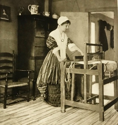 """Recreations of our Foremothers"" photograph by Wallace Nutting. See Furniture Treasury, image 3229–23, 1913."