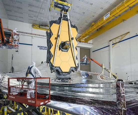The Webb Telescope stores its umbrella for a mile trip